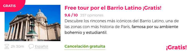 Tour gratis barrio Latino París