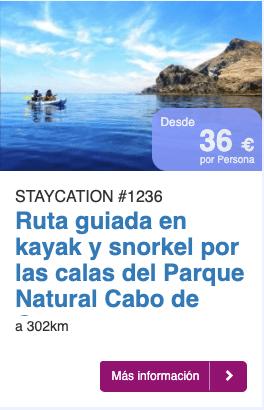 Ruta guiada en kayak y snorkel por las calas del Parque Natural Cabo de