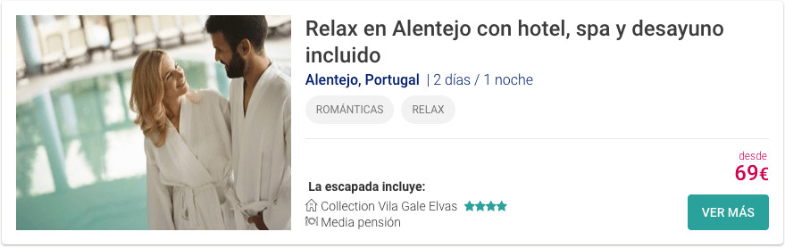 Relax en Alentejo con hotel, spa y desayuno incluido