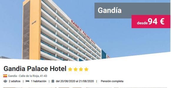 GANDÍA PALACE HOTEL 4* PENSIÓN COMPLETA