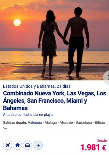 Combinado Nueva York, Las Vegas; lOs Ángeles, San Francisco, Miami y Bahamas