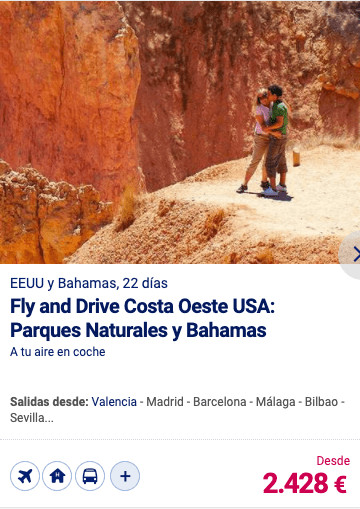 Fly and Drive costa Oeste USA: Parques Naturales y Bahamas