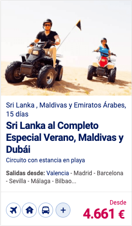 Sri Lanka al Completo Especial Verano, Maldivas y Dubái