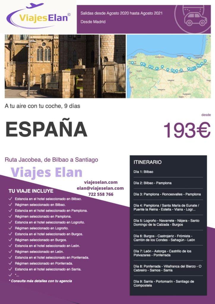Ruta Jacobea, Bilbao a Santiago