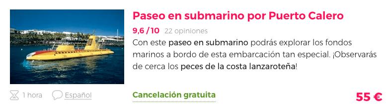 Paseo en submarino ruta por Lanzarote